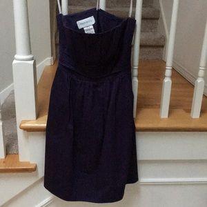Purple strapless cotton dress